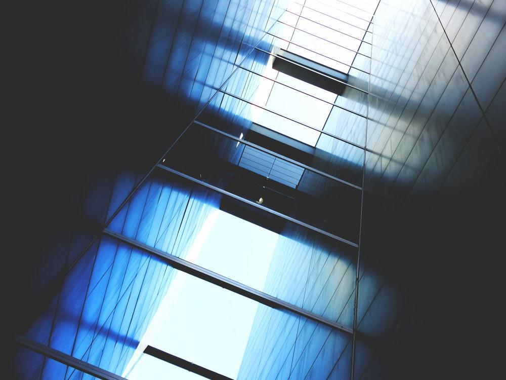 blue and white light in dark room