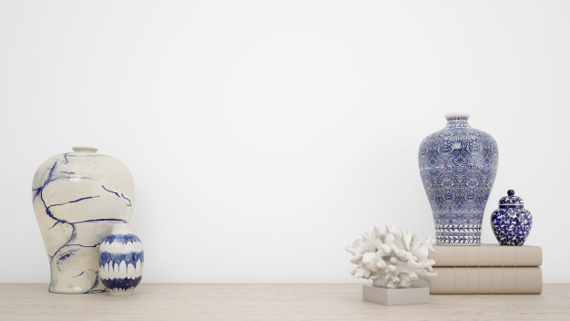 Classic vases for interior decoration and white wall with copyspace Free Psd